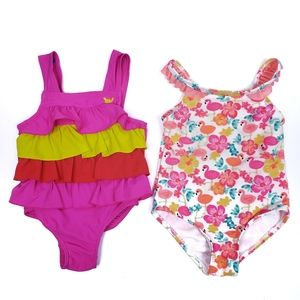 Lot of 2 - 18 month girls one piece swimsuits